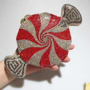 DAIWEI New Women's Clutch Bag Red Candy purse Luxury Crystal Evening Bag sweetmeats shape wedding Party cluch Y0313