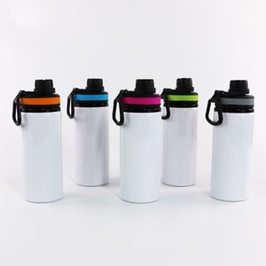 NEW Sublimation Aluminum Blanks Water Bottles 600ML Heat Resistant Kettle Sports Cups White Cover Cups With Handle Sea Shipping T500476
