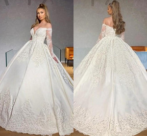 2021 Princess Wedding Dresses Ball Gown Off Shoulder Lace Applique Bridal Gowns Long Sleeve Sweep Train Plus Size Vestidos De Novia AL8806