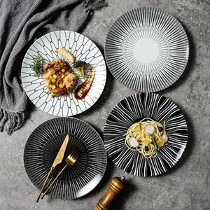 Nordic Creative Modern Simple Underglaze Color Ceramic Tableware Household 8 10-inch Western-style Meal Snack Flat Dinner Plates