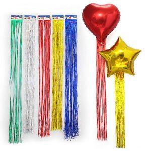 10pcs 1mx9cm balloon rain silk tassel wedding party birthday Xmas tree decoration Rain Curtain Foil Line balloon accessories