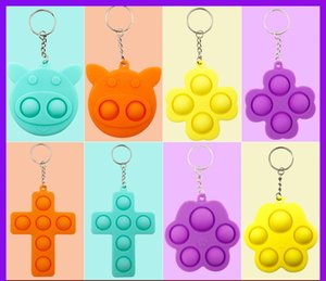 2021 Simple Dimple keychain fidget Sensory push toys bubble triangle bag pendants squeeze silicone toy key ring pendant G22402