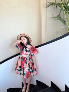 2021 free shipping Girl Princess Dress New Summer Kid Girls Dress Floral Sweet Children Party dress Butterfly clothes Children clothes