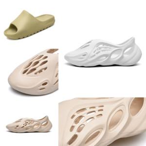 KC47R Kanye West Köpük Sandles Kahverengi Kadın Çocuklar Ayakkabı Kemik Toprak Kanye Terlik Terlik Çöl Kum Reçine Erkekler Tasarımcı Slide Sandalet Köpük