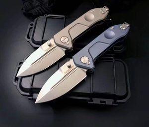 Relación extrema Titanio Alloy Frame Lock Tipo Cuchillo plegable Premium D2 Hoja de acero, Gris y Azul Premium Titanium Manden Cuchillo Coleccionable