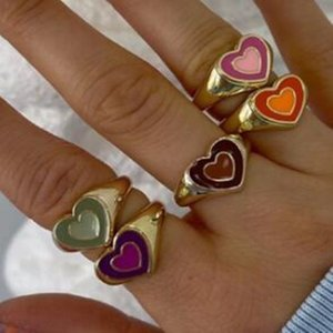 Ins Double Layer Love Heart Ring Vintage Drop Oil Metal Heart Rings For Women Girls Fashion Jewelry