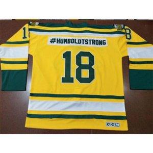 Vintage gerçek tam nakış #humboldtstrong # 18 humboldt broncos retro sarı yeşil hokey forması veya özel herhangi bir isim veya numara forması