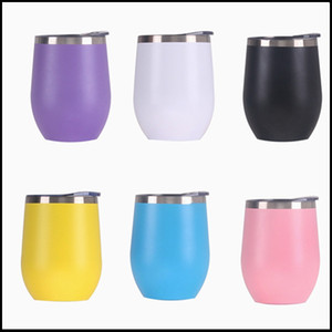 NEW Eggshell Cup U-shaped Stainless Steel Tumbler Insulated Wine Tumbler 12ozCoffee Mugs stemless Wine Glass For Wedding Christmas Gift