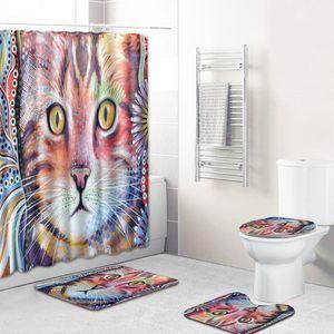Классическая конь для печати Душевая занавеска без скольжения Коврики коврики U-образные наборы U в форме для ванной комнаты для ванной комнаты