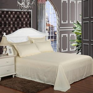 Wholesale 5 Star Hotel Flat Sheet 100% Satin Cotton Material 40s Count Beige Printed Twin Full Queen King Size Free Shipping