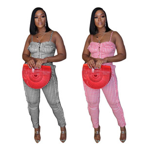 2021 Summer Women Sexy Strapless Plaid Print Tops Tall Waist Falbala Pants Suit Casual Night Club Outfits Two Piece Set BN048