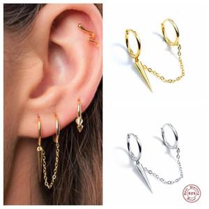 GS 925 Sterling Silver Jewelry Hoop Earrings Women Chain Double Wear Tapered Pendant Earring Jewelry Kolczyki Damskie 1PC