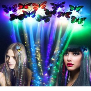 1 2 4 10  12 20pcs Flash Led Hair Light Emitting Fiber Optic Pigtail Braid Colorful Luminous Wig Bar Party Prom Suppli qylcXA