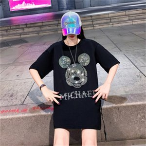 2021 fashion brand new letter hot drill Mouse cartoon short sleeve T-shirt women's loose medium length top
