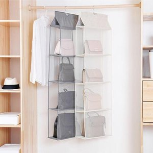 2 3 4 Pockets Hanging Handbag Organizer for Wardrobe Closet Dust-Proof Storage Bag Purse Big Handbag Tote Bag Clothes Organizer