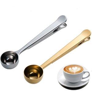 Edelstahl gemahlener Kaffee Messschaufel Löffel mit Tasche Dichtung Clip Schwarz Gold Silber Farbe Eiscreme Löffel ZZA7332
