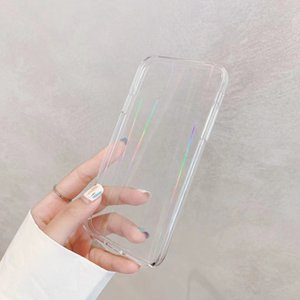 Gradient Rainbow laser Phone Cases For iPhone 12 11 Pro Max XR X XS Max 7 8 6S Plus Transparent Soft Fundas Clear TPU Covers