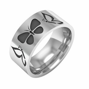 8mm Silver Butterfly Symbol Rings Men&Women's Stainless Steel Band Size 6-13
