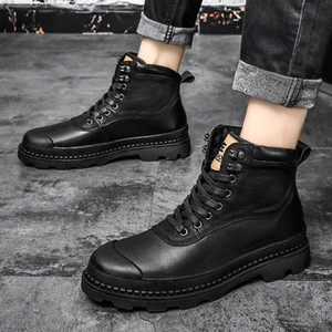 2020 Men Boots Fur Warm Ankle Boots For Male Shoes Adult Motocycle Snow Winter Shoes Men Big Size 47 W4lY#