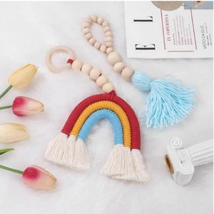 Tassel Pendant Nursery Decorations Wooden Bead String Garland Tassels Rainbow Hanging Ornaments Baby Stroller Pendant Children Toys WMQ595