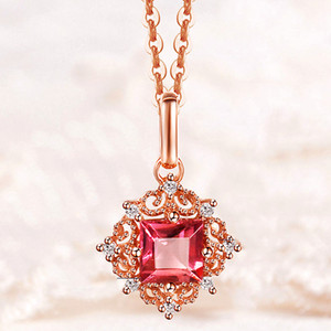 Vintage carving small Ruby gemstones red crystal pendant necklaces for women diamonds Rose gold color choker jewelry bijoux gift 0213