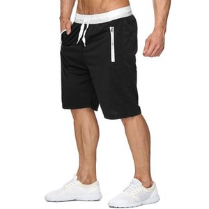 2019 Summer New Men's Casual Shorts jogger Sport Zipper Splice Mesh Breathable Comfortable Beach Shorts Bodybuilding Solid color Shorts