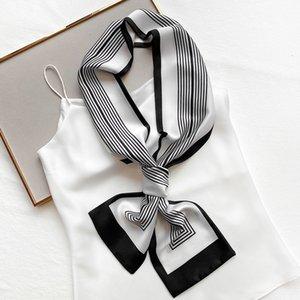 Early autumn new thin narrow strip small silk women's Korean style winter warm striped scarf bandage hair band HWA2