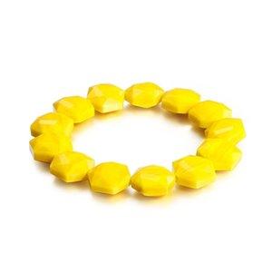 Fashion Beaded Bracelets Stainless Steel Yellow Geometric Beads Bracelets Jewelry For Women 210224