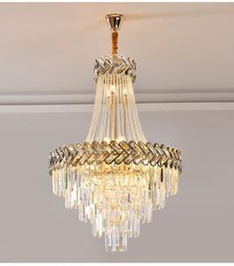 Lüks Oturma Odası Için Modern Kristal Avize Altın Loft Zincir Işık Fikstürü Büyük Merdiven Cristal Lamba Ev Dekorasyonu Aydınlatma