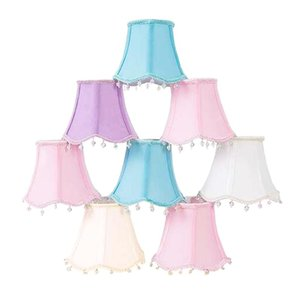 E12 Small Fabric Solid shade for Lamps,Hand-stitched,Crystal beads pendant lace,Washable,white beige blue pink lavender E14