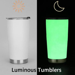 Flash Skinny Luminous Tumblers Hot Sale Stainless Steel Tumbler Fluorescent Mug Car Cup Ice Bar Cup 20oz