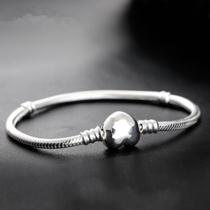1pcs Drop Shipping Factory Silver Plated Heart Bracelets Snake Chain Fit for pandora Bangle Bracelet Women Children Gift B002 58 R2