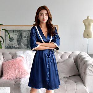 womens satin silk pajamas bathrobe set sleepwear 2021 spring summer plus size nightwear 2 pieces suit Household nightgown robe