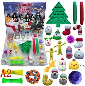 24 days Christmas Fidget Toy Advent Calendar Set December Push Bubble 24pcs Set Silicone Stress Reliever Sensory Toys by sea FWE9329
