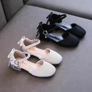 2021 Spring Summer Children's Leather Shoes Shallow Princess Sandals Solid Color Bling Girls Shoes