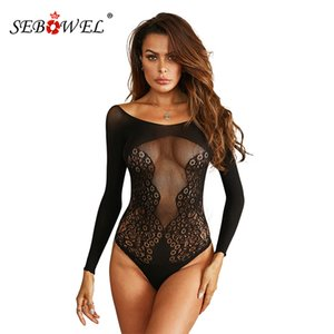 SEBOWEL Sheer Lce Sexy Bodysuit Women Long Sleeve O-neck Mesh Bodysuits Florl Hollow Out Pttern Femle Sleepwer Body Tops