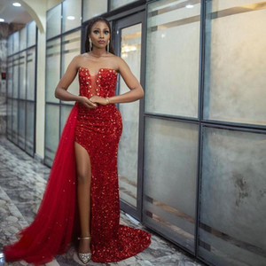 2021 Red Sequin Split Mermaid Evening Occasion Dresses Sweetheart Bead Bandage with Overskirt Prom Party Gowns Vestidos De Novia