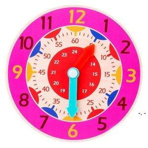 Jouets pour enfants, aides pédagogiques au début de l'enseignement, horloge en bois Montessori, jouets, heures, minutes, secondes, horloges colorées cognitives DHF5