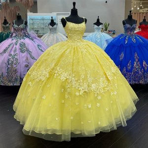 Charming Yellow Quinceanera Dresses Flowers 2021 Floral Lace Spaghetti Applique Straps Open Back Graduation Dress For High School Sweet 15