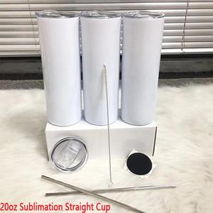 Stok 20 oz diy süblimasyon düz skinny tumbler metal saman ile kauçuk coaster ve saman fırçası Doubel duvar termos fincan