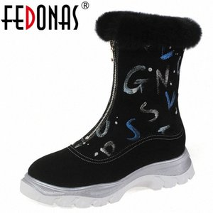 FEDONAS Newest Women Big Size Winter Warm Women Ankle Boots Platform Boots Casual Office Shoes Woman Front Zipper Short i74I#