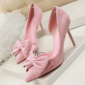 Lakeshi Donne pompe donne tacchi alti scarpe da bow scarpe rosa cavità sexy tacchi alti signore
