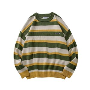 Men's Sweaters 2021 Pullover Striped Sweater Oversized Mens Knitted Men Hip Hop Harajuku Korean Casual Black Clothing