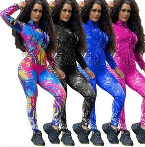 Women tie dye Sweatsuit jacket 2 piece sets long sleeve coat+leggings casual jogger suit spring clothing sports outfits plus size 3814