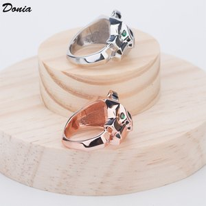 Dona Jewelry Hot Ring Fashion Pop Inlaid Zircon Leopard Head Anello Europa e Stati Uniti Anello per uomo e donna creativi