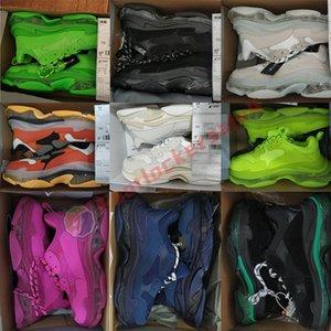 Luxurys Designers Shoes Triple S Zapatillas de deporte para mujer Zapatillas de deporte de caña alta Moda Paris Clear Sole Vestido Boda Plataforma negra Hombre Papá Zapato