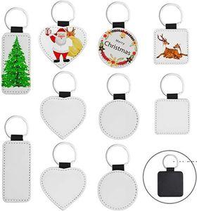 Sublimation Blanks Keychain PU Leather Keychain for Christmas Heat Transfer Keychain Keyring for DIY Craft Supplies FWA3828
