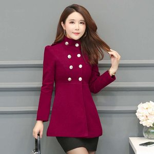tweed long slim women's wool overcoat Korean Autumn winter woollen windbreaker