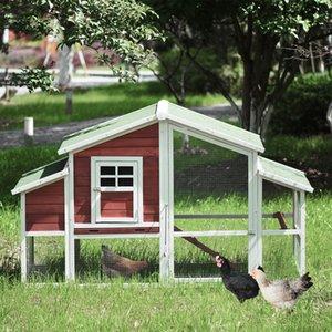 """LeoRS 123.6 """"Grande pollaio in legno all'aperto Coop di pollame gabbia di pollame coniglio Hutch Piccola casa degli animali con 2 rampe per 6 polli, colore naturale"""