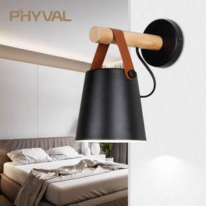 Wall Lamps LED Light Wood Lamp Bed Bedside Night Lights Modern Nordic Lampshade Home Decor White & Black Belt E27 85-265V